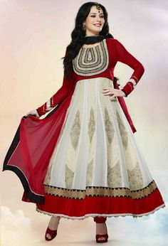 Attractive Off White and Red Anarkali Suit Latest Salwar Kameez 0f9798604
