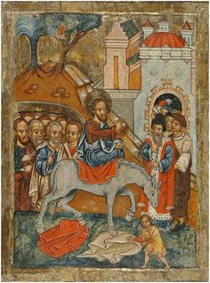 The Entry into Jerusalem Palm Sunday, The Donkey, Holy Week, Orthodox Icons, Illuminated Manuscript, Middle Ages, Fresco, Jesus Christ, Renaissance