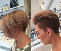 Chin length bob with hidden undercut.