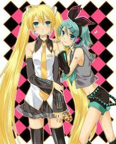 Hatsune Miku & Kagamine Rin colour crossover Reverse Rainbow anyone? http://www.youtube.com/watch?v=lFDV3y76nQE
