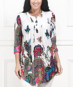 Look at this #zulilyfind! White & Pink Floral Paisley Notch Neck Tunic - Plus #zulilyfinds