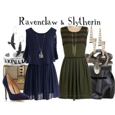 """Ravenclaw & Slytherin // Harry Potter"" by Hogwarts, Slytherin Harry Potter, Harry Potter Style, Harry Potter Outfits, Ravenclaw, Movie Inspired Outfits, Themed Outfits, Vestidos Anime, Fandom Outfits"