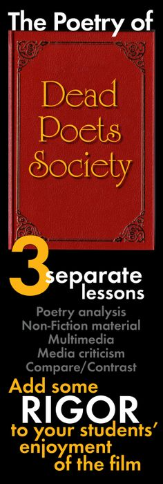 Poetry of Dead Poets Society, Analyze 3 Poems, Add Rigor to Film Study, Whitman Teaching Poetry, Teaching Language Arts, Teaching Writing, Teaching Tips, Teaching English, Poetry Lessons, Poetry Unit, Dead Poets Society, Secondary Teacher