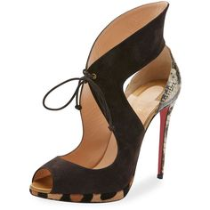 Christian Louboutin Campanina Self-Tie 120mm Red Sole Sandal ($1,295) ❤ liked on Polyvore featuring shoes, sandals, version taupe, red sole shoes, leather sandals, leather platform sandals, leopard sandals and platform sandals