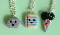 Rock Paper Scissor Necklace 3 Piece Polymer Clay Charms. Or as I like to say Quartz, Parchment, and Schere