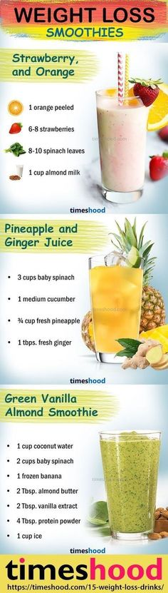 Healthy smoothie recipes for weight loss. Drink to lose weight. Weight loss smoothie recipes. Fat burning smoothies for fast weight loss. Check out 15 effective weight loss Drinks/Detox/Juice/Smoothies that works fast. timeshood.com/... #weightlossjuicing