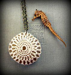 Summer Wedding Crochet Beach Stone Necklace in by SovereignSea