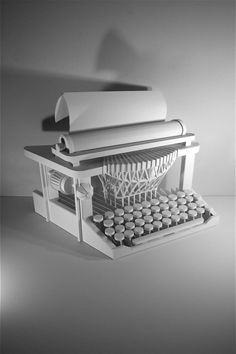 "*Paper Sculpture - ""Typewriter"" by James Vance"