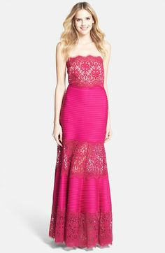 Tadashi Shoji Strapless Lace Inset Pintuck Jersey Gown available at #Nordstrom