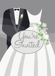 Silver Wedding Invitations 8ct