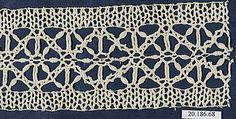 Date:      16th century  Culture:      Italian (Genoa)  Medium:      Bobbin lace  Dimensions:      L. 8 x W. 3 inches (20.3 x 7.6 cm