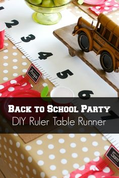Back to School Party: DIY Ruler Table Runner - this only cost one dollar to make!