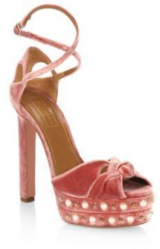 Aquazzura Harlow Velvet Pearls Platform Sandals #platformsandalsheels
