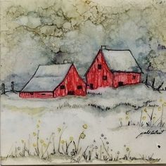Alcohol Ink Winter Landscape Watercolor of Farm Mixed Media