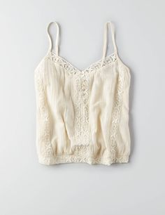 AEO Button Embroidered Bubble Tank , Cream | American Eagle Outfitters