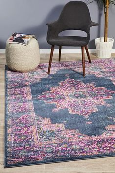 Eclectic is the perfect collection for Summer, bursting with colour, life and character. The use of ornate geometric and floral motifs make these statement rugs a visual delight that will work beautifully in Bohemian and eclectic settings Dark Blue Rug, Eclectic, Blue Furniture, Eclectic Rugs, Transitional Rugs, Rugs, Rugs Australia, Modern Rectangle, Rugs Online