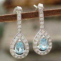 Blue topaz dangle earrings, 'Arctic Tear' $59.95