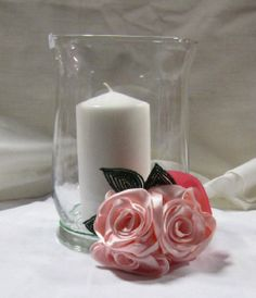 Event Centerpiece --- Handmade silk roses accented with French beaded leaves. Perfect for bridal party or baby!