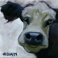 "KYLE BUCKLAND JENN COUNTS FARM ART  COW CATTLE   ANIMAL OIL PAINTING A DAY Impressionism FINE ART WALL ART HOME OFFICE RESTAURANT DECOR INTERIOR DECOR COLLECTIBLE  ""Violet"" 6""x6"""