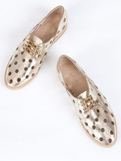 Rachel Comey Acker Shoe // Patterned metallic gold leather lace-up oxfords peppered with decorative hole punch cut outs