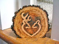 Rustic Wedding Cake Topper Deer Couple Wood Burned Heart Wood Slice