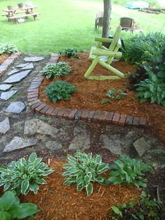 Old brick pavers creates a nice walkway
