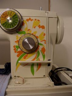 GROOVY Sewing Machine Original 1970's Psychedelic Decor by 653lin, $125.00