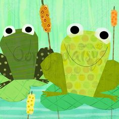 Friendly Frogs - Animals Canvas Wall Art   Oopsy daisy-scrapbook paper