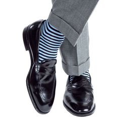 Navy and Sky Blue Repeating Stripe Sock Linked Toe OTC
