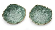 Ceramic bowls, 'Betel Leaf' (pair) by NOVICA