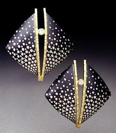Earrings | Carol Webb.  Etched copper over fine silver, 18k gold, white sapphires, black patina.
