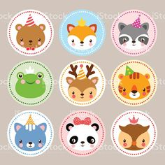 Set of cartoon sticker with baby animals. Birthday Cards with animals in cartoon style. Vector illustration with. Art Drawings For Kids, Cute Drawings, Art For Kids, Cartoon Stickers, Funny Stickers, Baby Icon, Giant Paper Flowers, Animal Birthday, Animal Faces