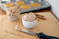 Cinnamon Maple Frosting  [½ C Palm Shortening 1/3 C pure maple syrup Pinch sea salt 1 tsp cinnamon 2 tsp pure vanilla extract 2 TBSP Arrowroot starch 2 tsp Coconut flour   2 TBSP coconut oil, melted]