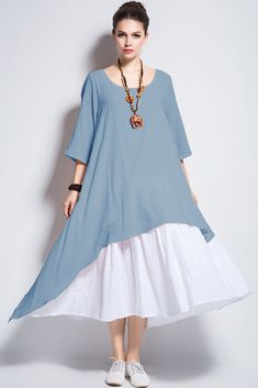 2a81faa518c Anysize Fake Two Piece Linen Cotton Dress Spring Summer Plus Size Dress  Y111 Light Blue XLarge -- To view further for this item