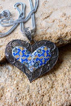 Portugal Sterling Silver Filigree Handmade Heart Pendant by Atrio