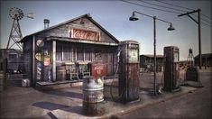 Inspiration - gas stop environment (Omer Messler, Old General Stores, Old Country Stores, Old Gas Pumps, Vintage Gas Pumps, Pompe A Essence, Old Gas Stations, Filling Station, Environment Concept Art, 3d Max