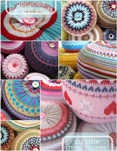 The Robin's Nest: Recycled Sweater Ideas.Too hot for you? Sewing Hacks, Sewing Projects, Sewing Ideas, Fabric Crafts, Diy Crafts, Recycle Crafts, Old Sweater, Sweater Pillow, Recycled Sweaters