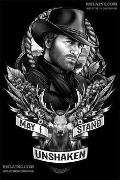 Arthur Morgan (from Red Dead Redemption + May I (RDR 2 Soundtrack) I Tattoo, Cool Tattoos, Gamer Tattoos, King's Quest, Estilo Gangster, Red Dead Redemption 1, John Marston, Read Dead, Rdr 2