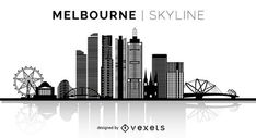 You can see the most important buildings, it& isolated and it also says Melbourne Skyline over the silhouette. Melbourne Australia City, Melbourne Skyline, Skyline Design, Skyline Art, Skyline Silhouette, Silhouette Design, Watercolor City, Watercolour, Skyline Tattoo
