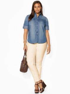 This preppy shirt is crafted from soft cotton and features a feminine allover polkadot pattern.  #Fashion  #RalphLauren