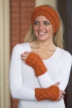 Knitting Patterns Galore - Cabled Headband & Mitts