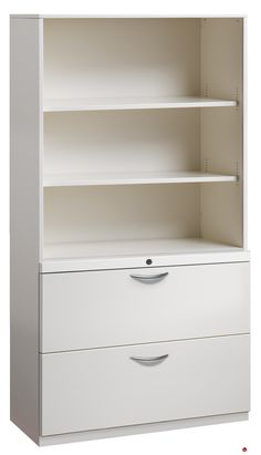 """Picture of 2 Drawer Trace Lateral File Cabinet, 30""""W Steel with Bookcase Hutch"""