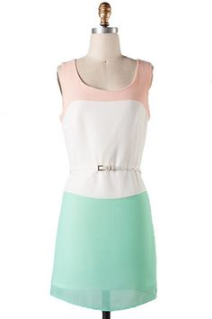 Citrus Grove Belted Color Block Dress - Peach + Mint - $48.00   Daily Chic Dresses   International Shipping