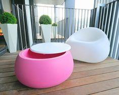 Moderne Möbel Terrasse-Garten-Weiß-Pink gumball