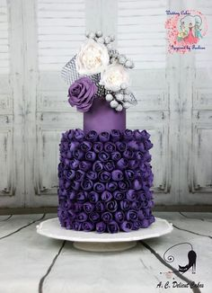 The 300 Purple Buds - Wedding Cakes Inspired By Fashion A Worldwide Collaboration - Cake by Delicut Cakes Purple Cakes, Purple Wedding Cakes, Elegant Wedding Cakes, Wedding Cake Designs, Elegant Cakes, Wedding Ideas, Gorgeous Cakes, Pretty Cakes, Amazing Cakes