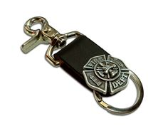 Firefighter Maltese Cross Leather Keychain | Shared by LION