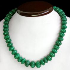 Green Emerald Necklace 625.00 Cts Round Carved Top Brilliant Necklace Strand