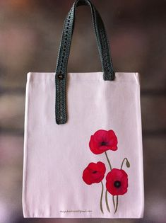 Tote Cotton Bag, Durable Tote Bag with hand painted Poppy flowers and adjustable length of the hands