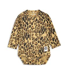 Mini Rodini Leopard Print Body: Unisex long sleeve body with all-over leopard print. Snap buttons at crotch and shoulder for easy dressing. Part of the Mini Rodini Basic-series, which consists of environmentally friendly and soft basics that can be mixed and matched with almost anything. This garment is GOTS certified.
