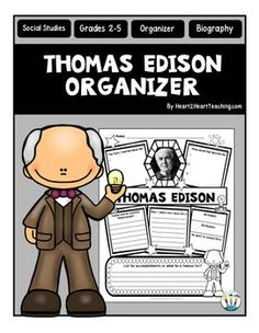 Thomas Edison : Thomas Edison Graphic Organizer : Is your class studying and researching about this famous inventor? This custom-created Thomas Edison organizer may be just what you're looking for!Are your students researching and learning about one of the most famous inventors in America, Thomas Edison?